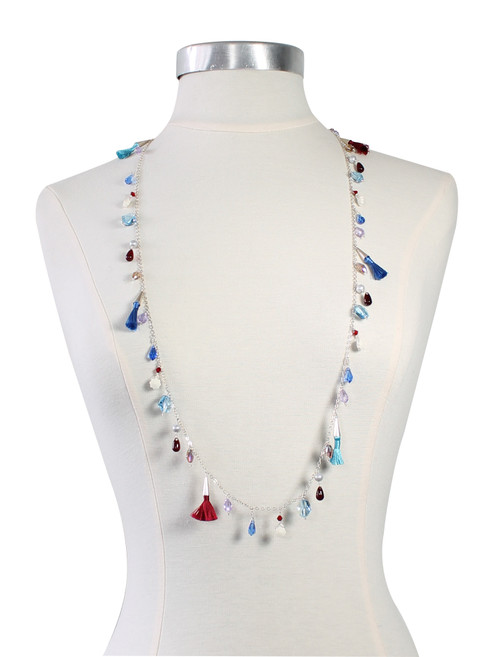 Sterling Silver and Colorful Swarovski Crystal and Tassel Long Necklace - Sailing Collection