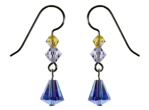 Sterling Silver Swarovski Crystal Sapphire AB Dangle Earrings • Aruba Collection