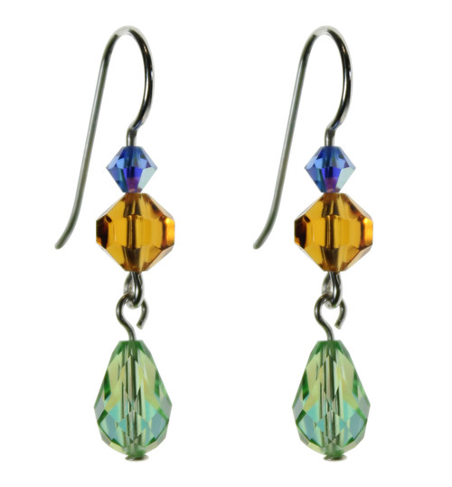 Sterling Silver Swarovski Peridot Crystal Dangle Earrings • Aruba Collection