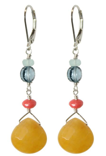 Old school yellow semi precious and Swarovski earrings