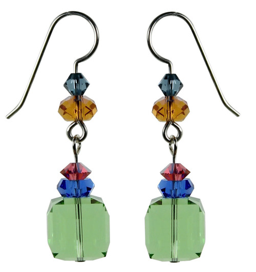 Sterling Silver and Peridot cube Swarovski crystal Dangle Earrings • Aruba Collection