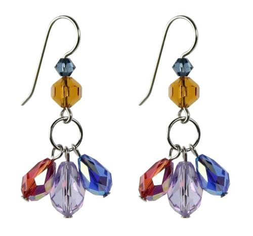 Drips of colorful crystal dangle earrings