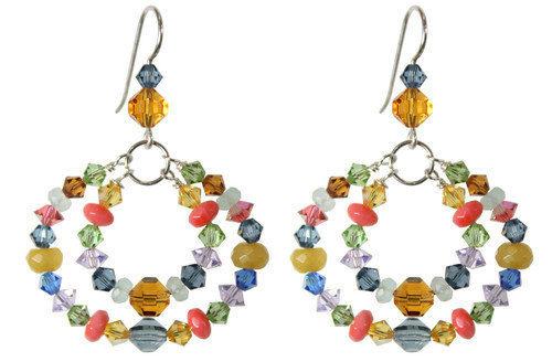 Sterling Silver Multi Colored Swarovski Crystal and Semi Precious Double Hoop Earrings • Aruba