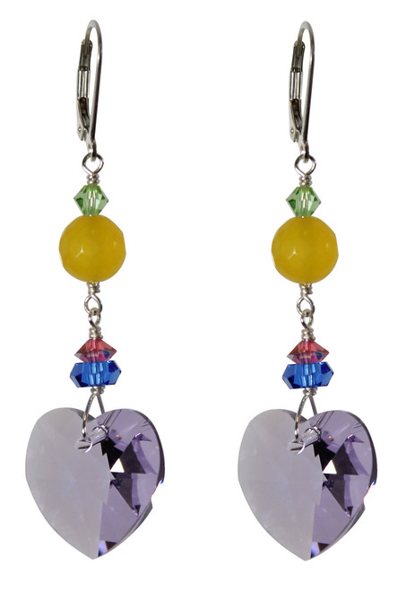 Sterling Silver and Swarovski crystal Violet Heart Earrings • Aruba Collection