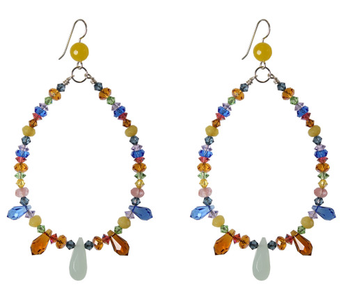 Colorful spiked chandelier earrings