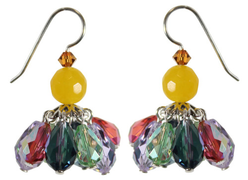 Mini bright and colorful chandelier earrings