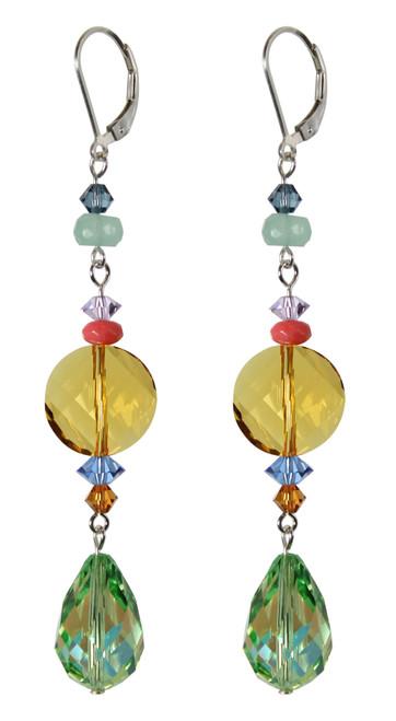 Long elegant green and yellow crystal earrings