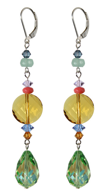 Long elegant green and yellow crystal earrings