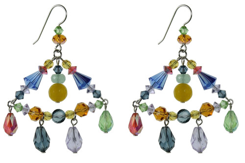 Triangular crystal earrings with droplets of Swarovski
