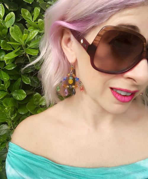 Sterling Silver Swarovski Crystal & Semi Precious One of a Kind Triangle Chandelier Earrings • Aruba