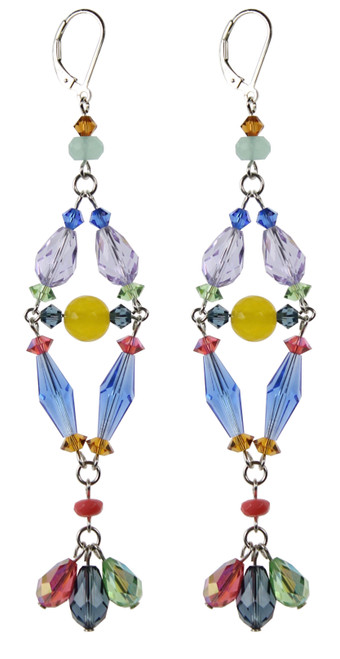 Long shoulder duster crystal earrings