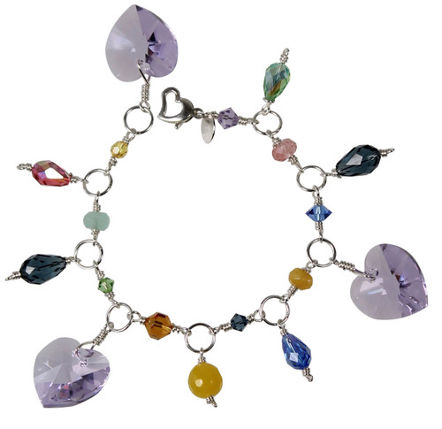 Sterling Silver Pastel Swarovski® Crystal Heart Charm Bracelet - Aruba Collection