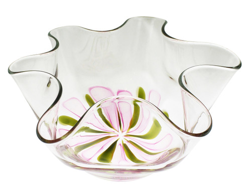Pink & Yellow Flower Center Floppy Bowl• One of a Kind • Hand Blown with Cane Flowers •  Art Glass
