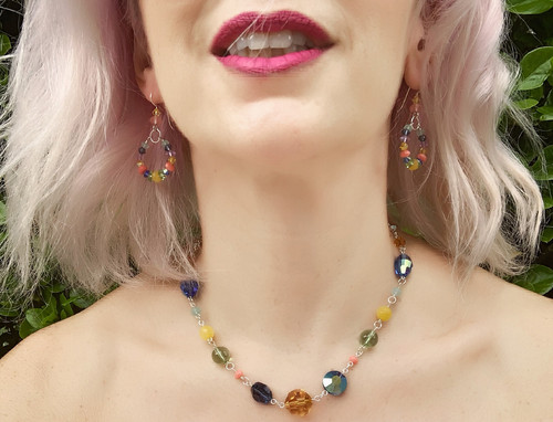 Adjustable Sterling Silver Multi Colored Swarovski Crystal Slider Necklace - Aruba Collection