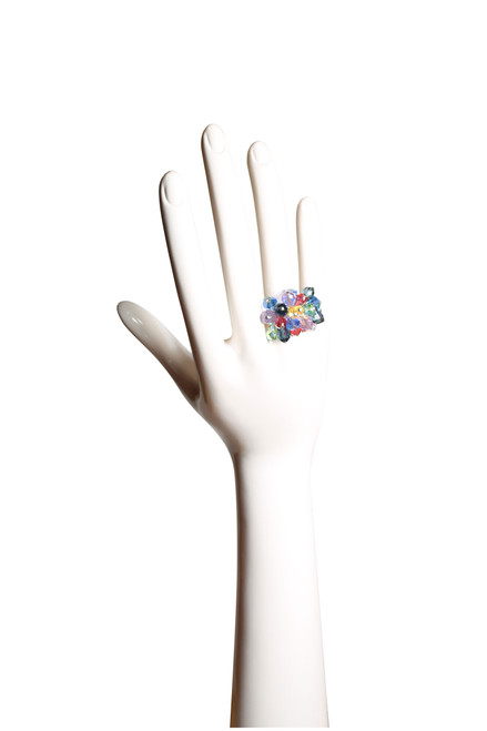 Swarovski crystal and sterling silver cocktail ring