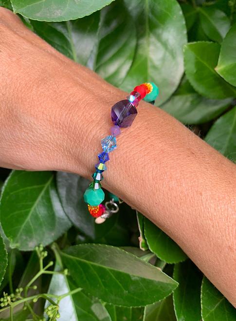 Swarovski Crystal Rainbow Colored Stackable Bangle Bracelet