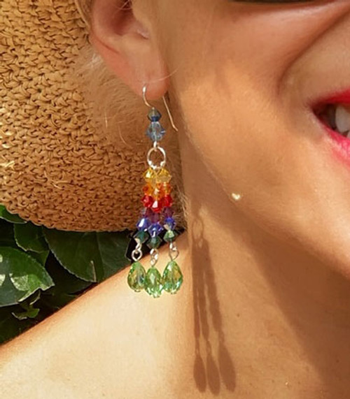 55e63c14a BIG COLORFUL STATEMENT EARRINGS - SWAROVSKI CRYSTAL EARRINGS - KAREN ...