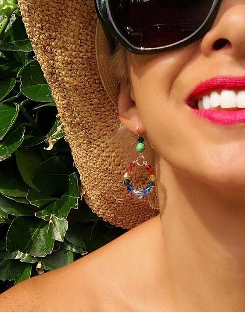Swarovski Crystal Rainbow Hoop Earrings