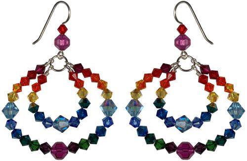 Swarovski Crystal Double Hoop Rainbow Earrings