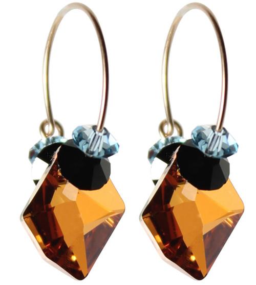14K Gold Filled Swarovski Crystal Hoop Earrings #Western
