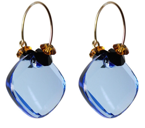 14K Gold Filled Swarovski Crystal Hoop Earrings with Sapphire Metro Pendant - Urban Cowgirl