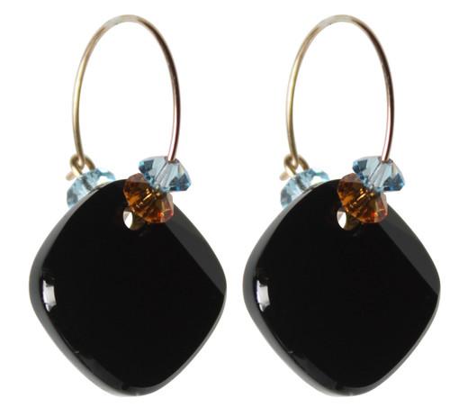 14K Gold Filled Swarovski Crystal Western Hoop Earrings with Jet Metro Pendant - Urban Cowgirl