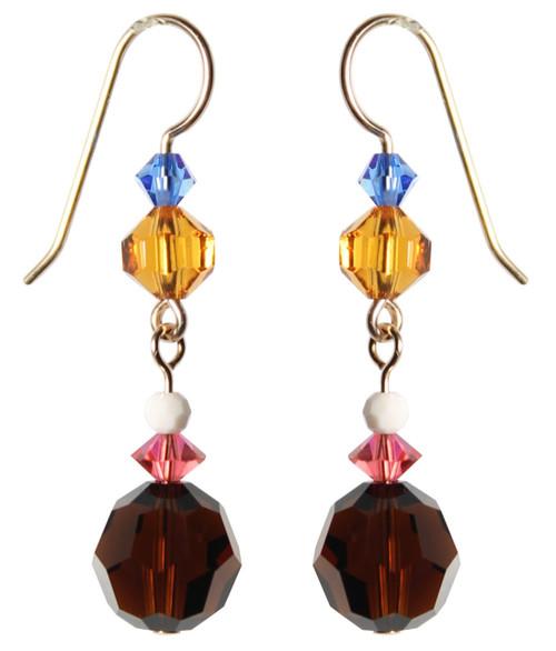 14K Gold Filled Swarovski Crystal Mocca Drop Earrings - Urban Cowgirl