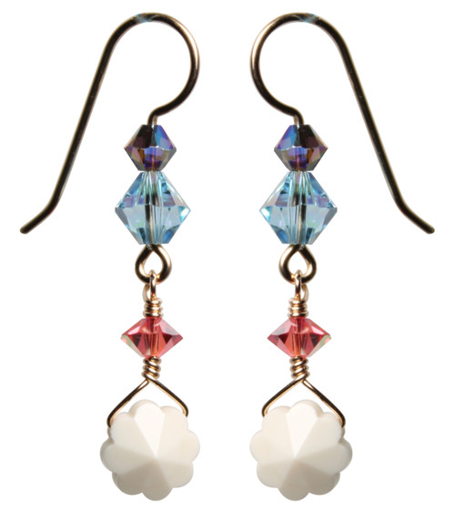 14K Gold Filled Wire Wrapped Vintage Swarovski Flower Crystal Earrings - Urban Cowgirl