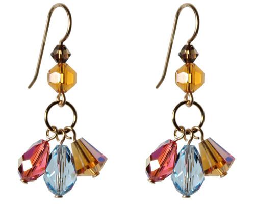 14K Gold Filled Swarovski Triple Drop Earrings with Vintage Lt Topaz Swarovski Crystals - Urban Cowgirl