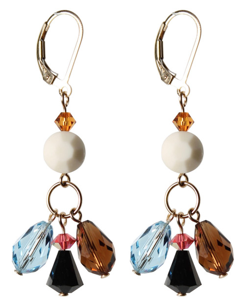 14K Gold Filled Swarovski Triple Drop Earrings with Vintage Ivory Swarovski Crystals - Urban Cowgirl
