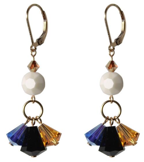 14K Gold Filled Swarovski Triple Drop Earrings with Vintage Swarovski Crystals - Urban Cowgirl