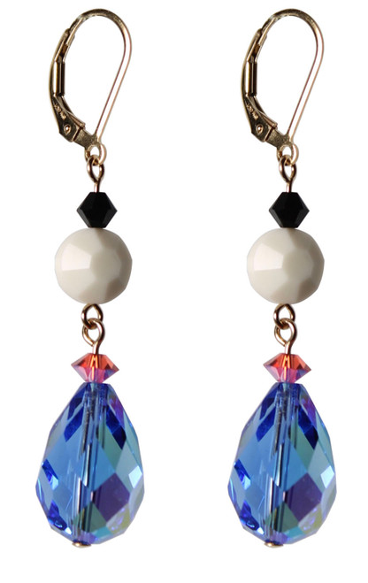 14K Gold Filled Vintage 18mm Sapphire AB Swarovski Crystals Earrings - Urban Cowgirl