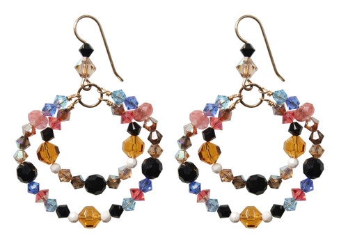 14K Gold Filled Swarovski Crystal Double Hoops Earrings - Urban Cowgirl
