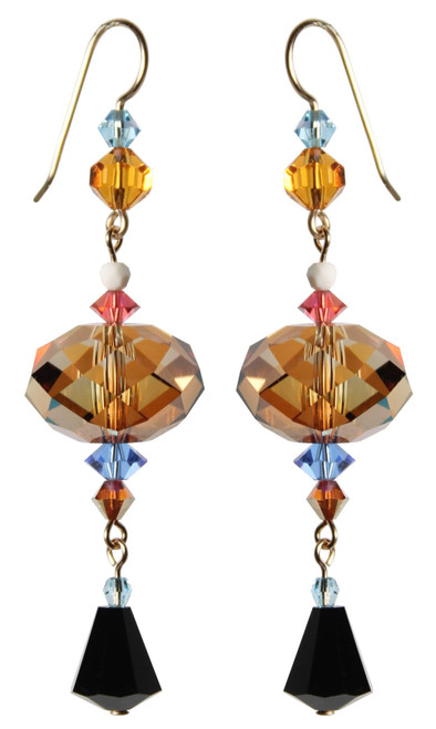 14K Gold Filled 18mm Topaz Swarovski Crystals Statement Dangle Earrings - Urban Cowgirl