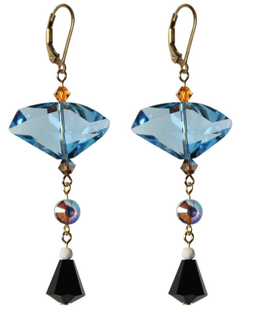 14K Gold Filled 18mm Geometric Swarovski Crystals Statement Dangle Earrings - Urban Cowgirl