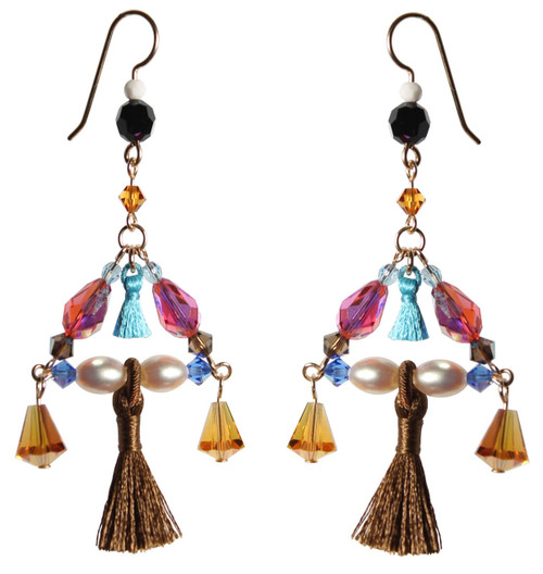 One of a Kind 14K Gold Filled Swarovski Crystals Triangle Tassel Chandelier Earrings - Urban Cowgirl