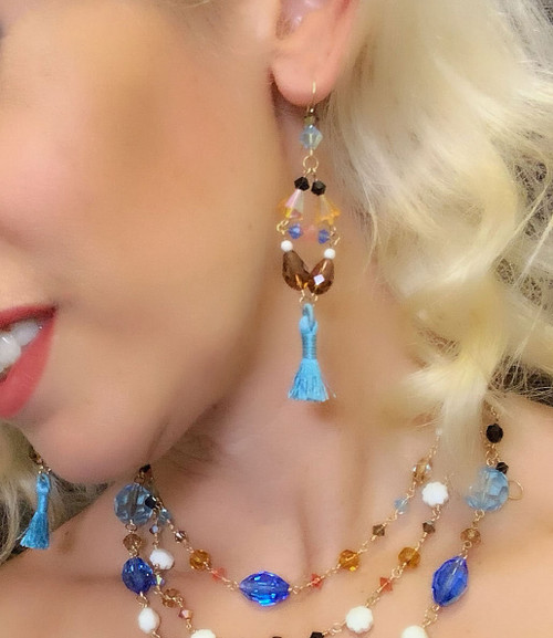 One of a Kind 14K Gold Filled Swarovski Crystals Divine Tassel Chandelier Earrings - Urban Cowgirl
