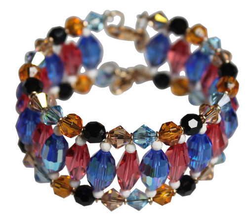 Swarovski Crystal Multi Colored Cuff Bracelet with Antique Ivory & Oval Sapphire AB - Urban Cowgirl