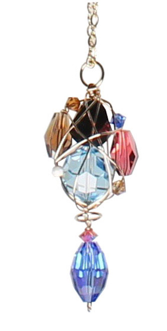 14K Gold Filled Swarovski Crystal Caged Cluster Wire Wrapped Pendant Necklace - Urban Cowgirl
