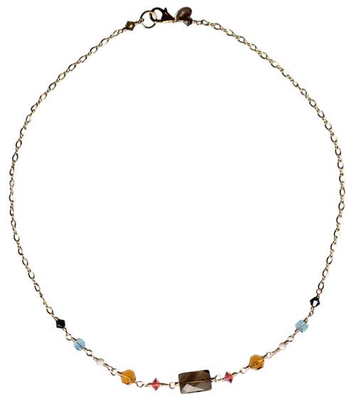 14K Gold Filled Swarovski Crystal & Semi Precious Simple Necklace - Urban Cowgirl