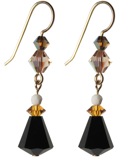 Gold Filled Swarovski Jet Crystal Drop Earrings - Urban Cowgirl