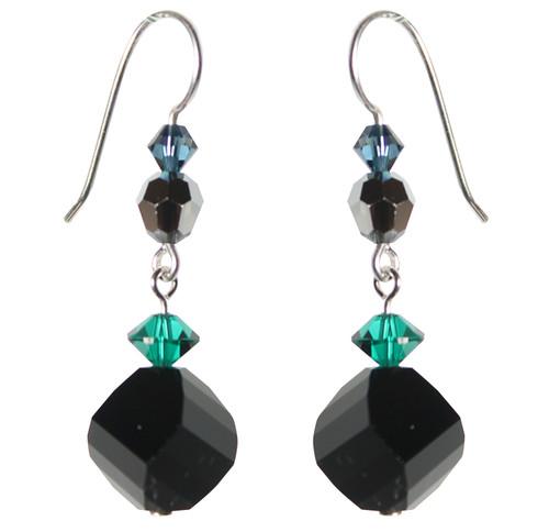 Sterling Silver Jet Swirl Swarovski Crystal Drop Earrings • City Chic