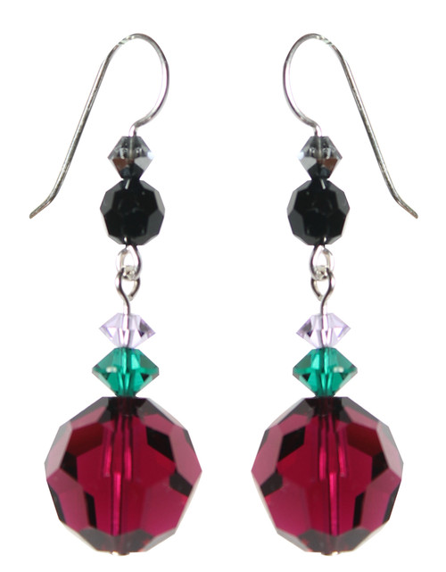 Sterling Silver Ruby Swarovski Crystal Drop Earrings • City Chic