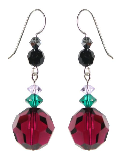Sterling Silver Ruby Swarovski Crystal Drop Earrings • City Chic
