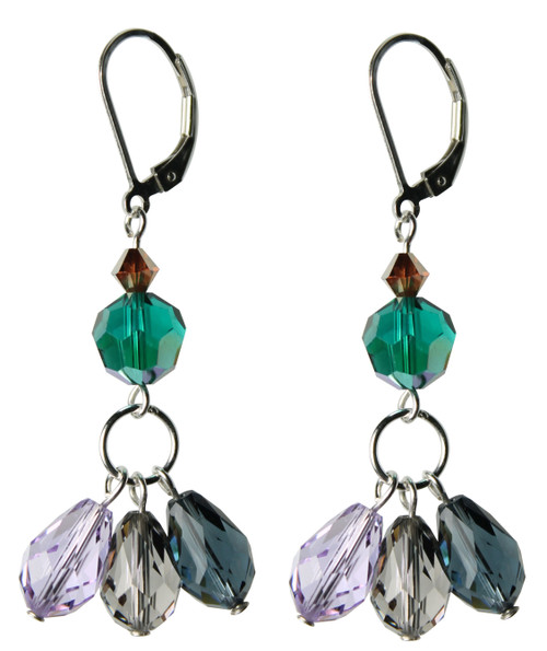 Sterling Silver Swarovski Crystal Triple Drop Earrings with Lever Back • City Chic