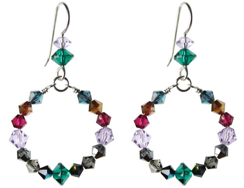 Sterling Silver Swarovski Crystal Multi Colored Hoop Earrings • City Chic