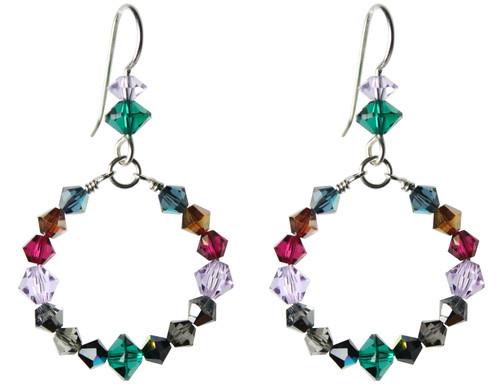 Sterling Silver Swarovski Crystal Multi Colored Hoop Earrings • City Chic