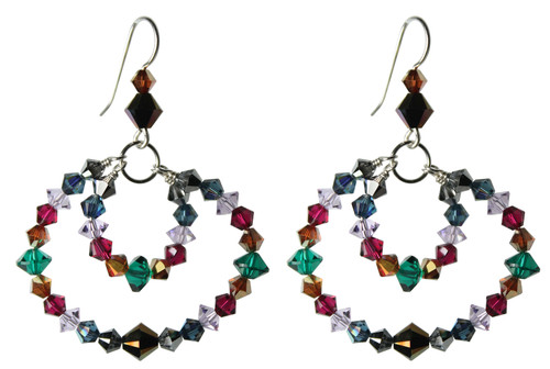 Sterling Silver Swarovski Crystal Multi Colored Double Hoop Earrings • City Chic