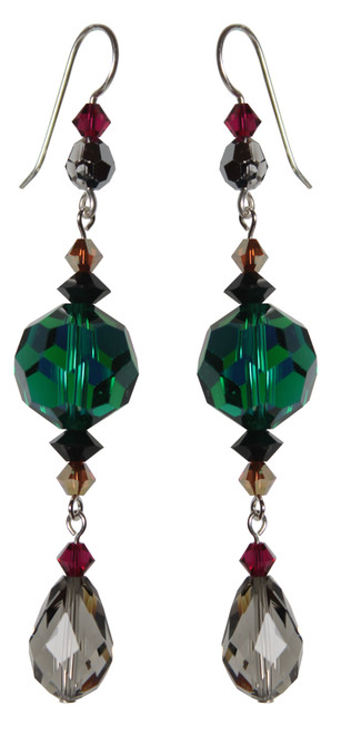 Sterling Silver Swarovski Crystal Statement Drop Earrings with Emerald Center Crystals • City Chic