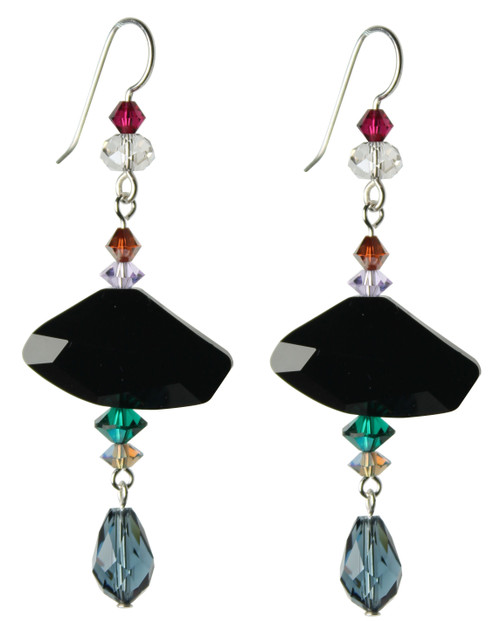 Sterling Silver Swarovski Crystal Organically Shaped Statement Drop Earrings • City Chic
